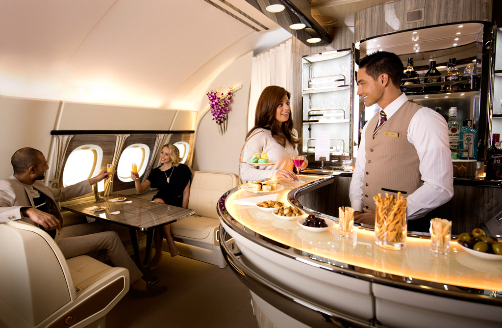 Emirates, A380, bar