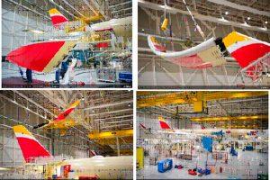 El A350 de Iberia ya tiene alas