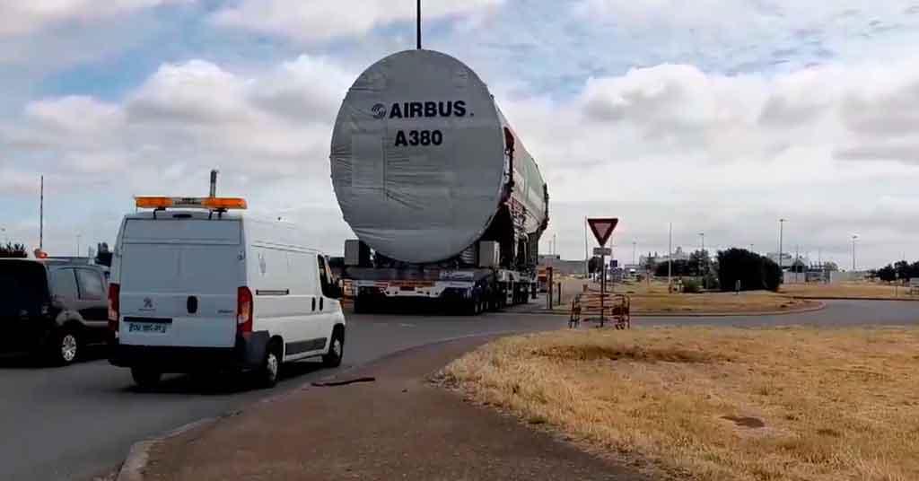 A380, fuselaje, traslado,
