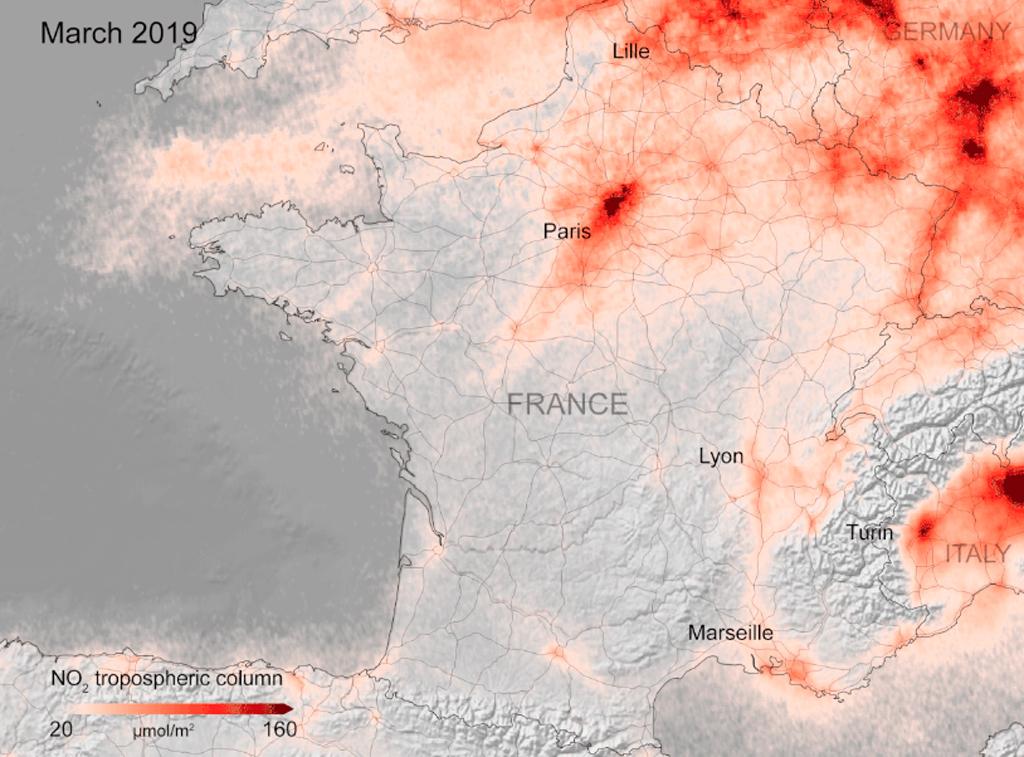 Contaminación, Francia, Sentinel, Copernicus