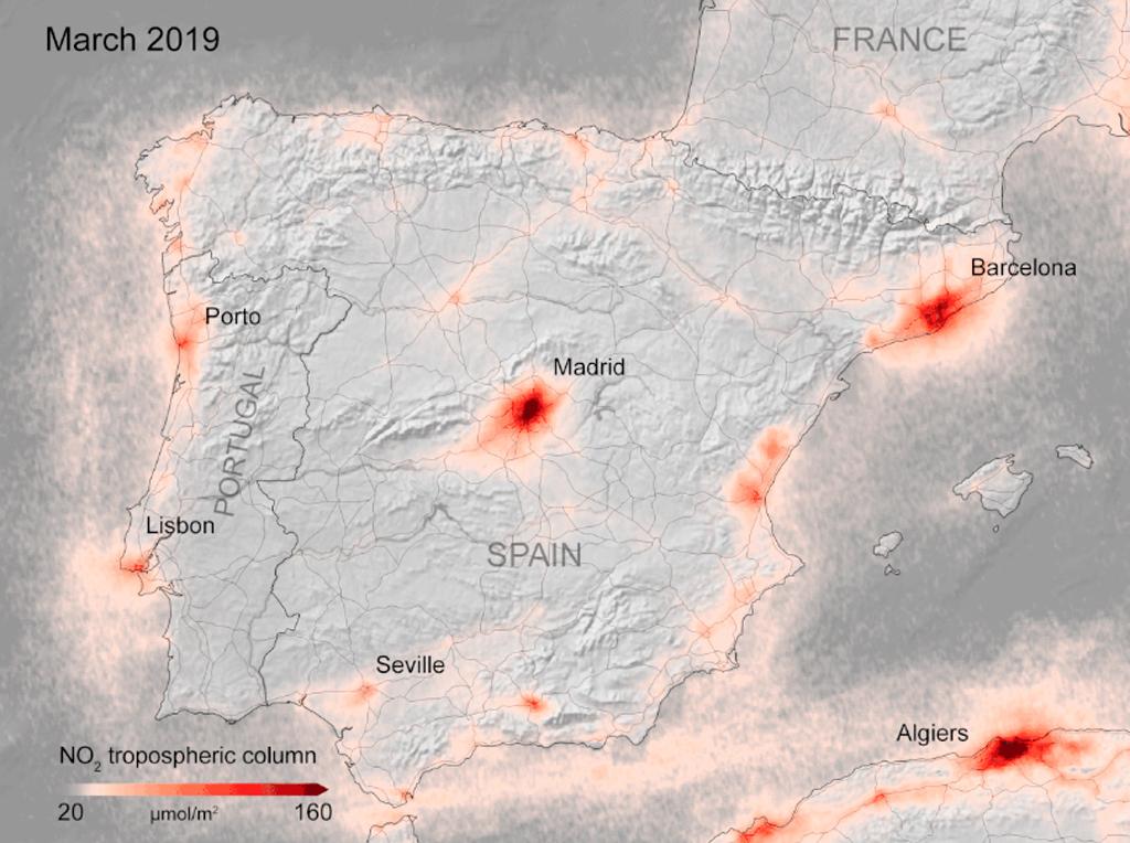 Contaminación, España, covid19, ESA, sentinel