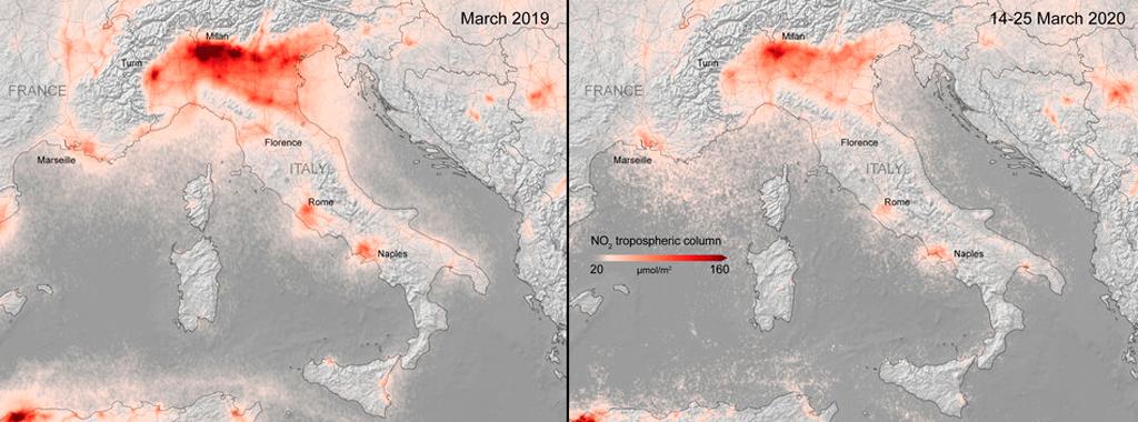 contaminación, Italia, Copernicus, Sentinel