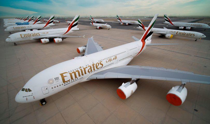 Emirates, flota largo radio, aviones cubiertos, B777, A380