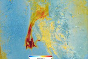 El Sentinel-5P, capturó la presencia de aerosoles absorbentes elevados en la atmósfera por los incendios de California