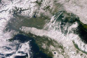 El satélite Copernicus Sentinel 3-A capta la gran nevada en Italia