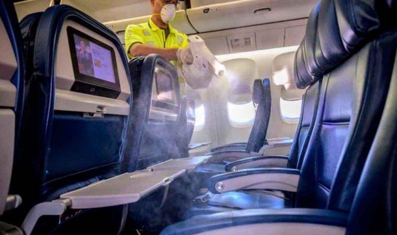 Limpieza, Delta, avión, covid19