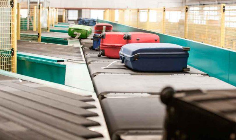 equipaje, aeropuerto, cinta, maletas