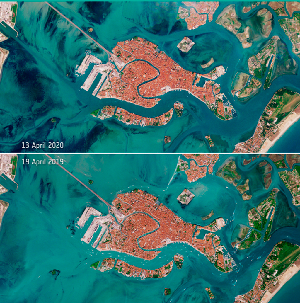 Venecia, Sentinel-2, Copernicus, Covid-19, coronavirus